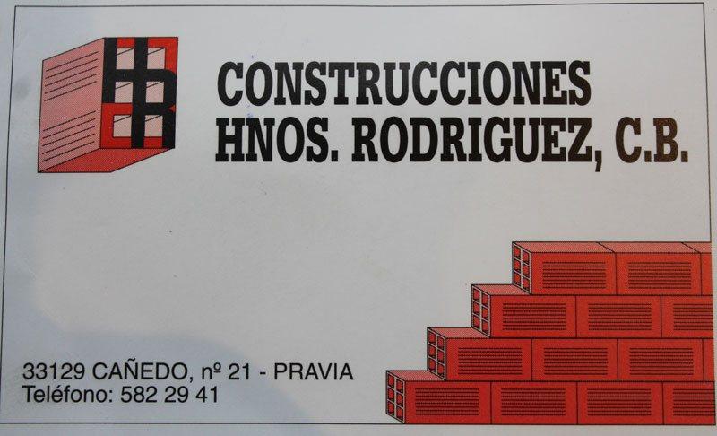 Tarjeta de visita de construcciones hermanos Rodríguez Fernández, C.B.